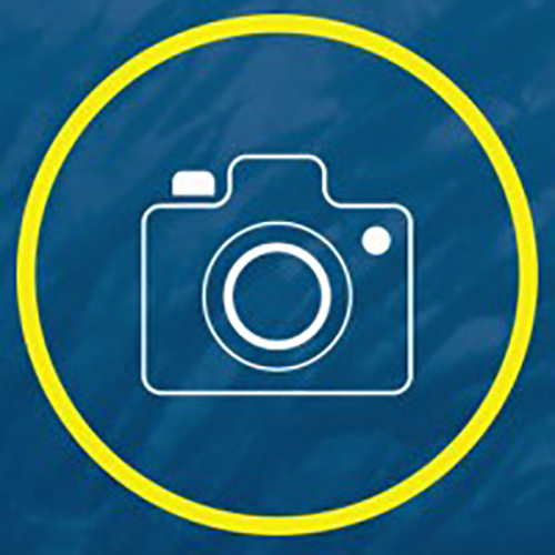 Blue background with a camera enclosed in a yellow circle
