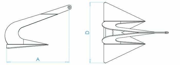 Dimensions for anchor. A refers to the length. D refers to the width