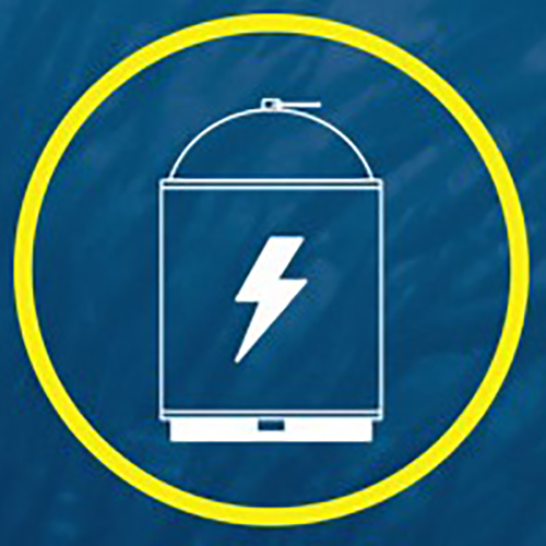Blue background with a battery enclosed in a yellow circle