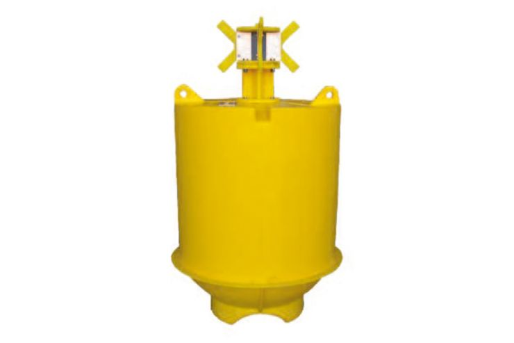 Yellow marine can navigation buoy
