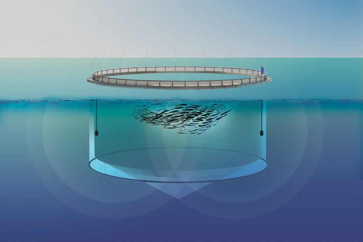 Rendering of a fish pen showing the sound waves projected by the SeaGuard acoustic deterrent